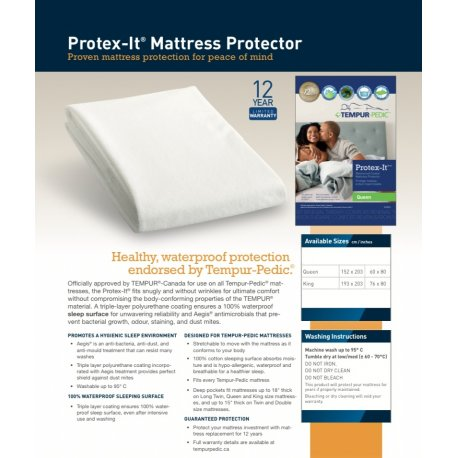 TEMPURPEDIC QUEEN PROTEX-IT MATTRESS PROTECTOR